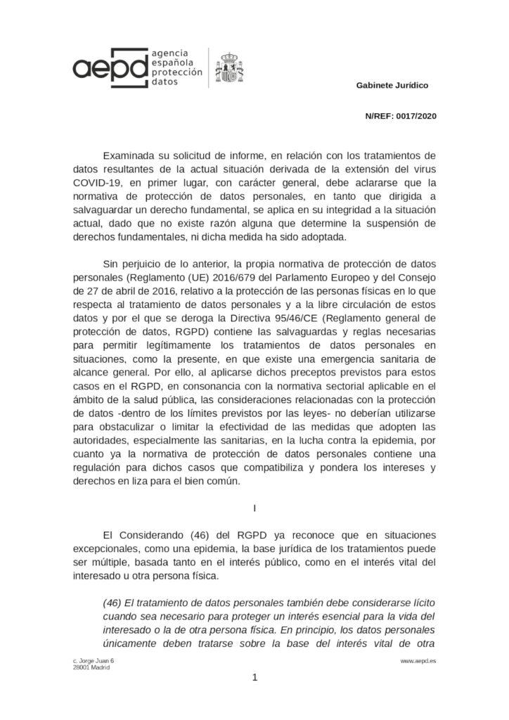 Informe de la AEPD en el que se analiza el tratamiento de datos personales de los empleados en relación con el coronavirus