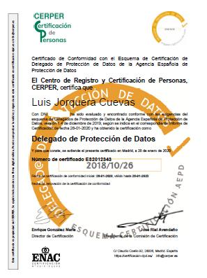 Certificación Luis Jorquera Cuevas
