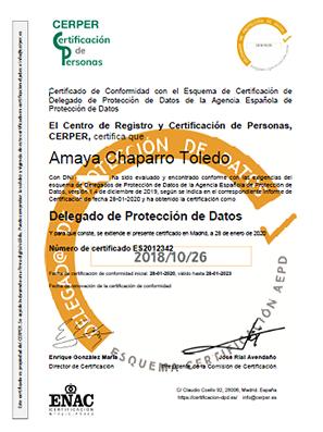 Certificación Amaya Chaparro Toledo